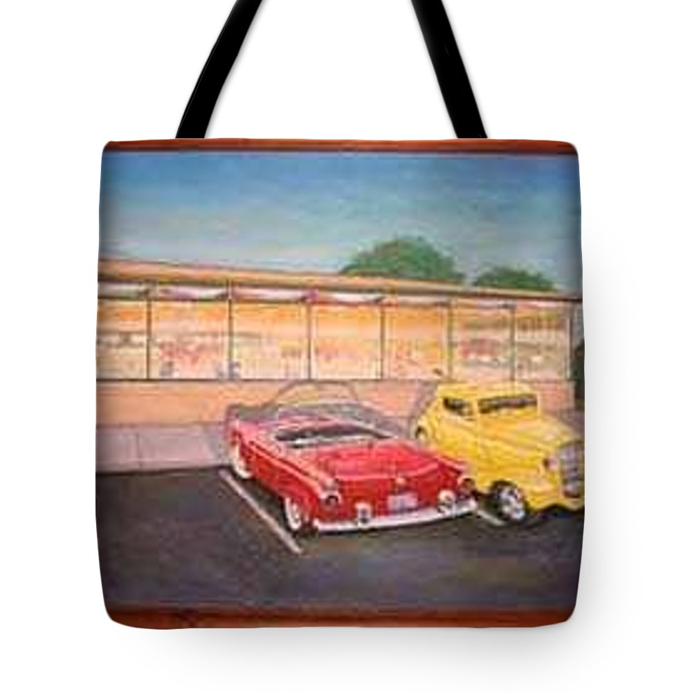 Rick Huotari Tote Bag featuring the painting Times Past Diner by Rick Huotari