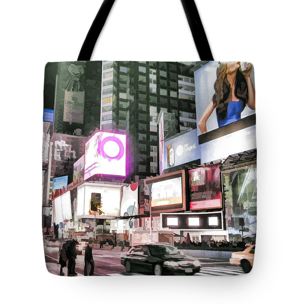 American Tote Bag featuring the photograph Times Square At Night by Boss Photographic