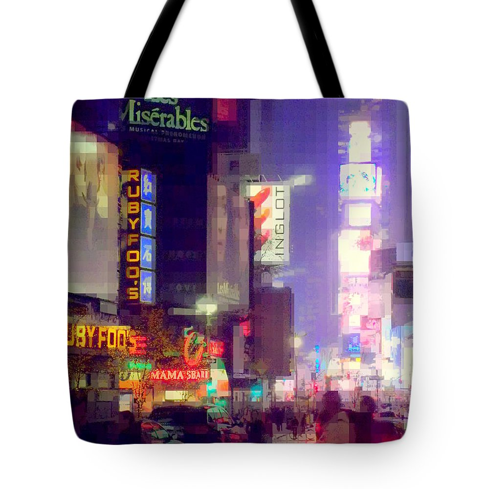Times Square Tote Bag featuring the photograph Times Square At Night - Columns Of Light by Miriam Danar