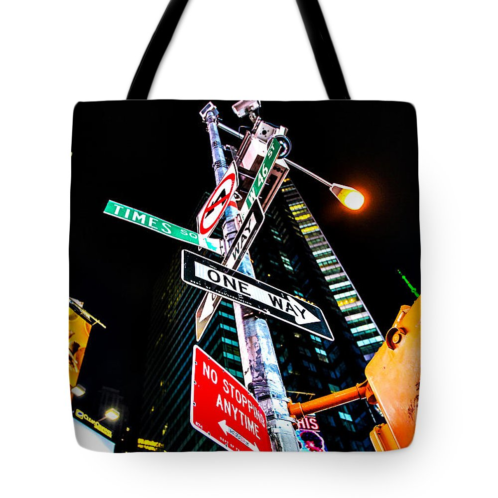 Streets Of New York Tote Bag featuring the photograph Times Square by Digital Kulprits