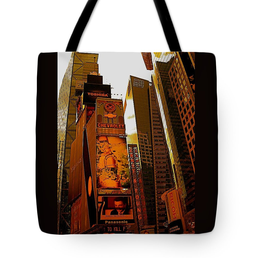 Manhattan Posters And Prints Tote Bag featuring the photograph Times Square In Manhattan by Monique's Fine Art