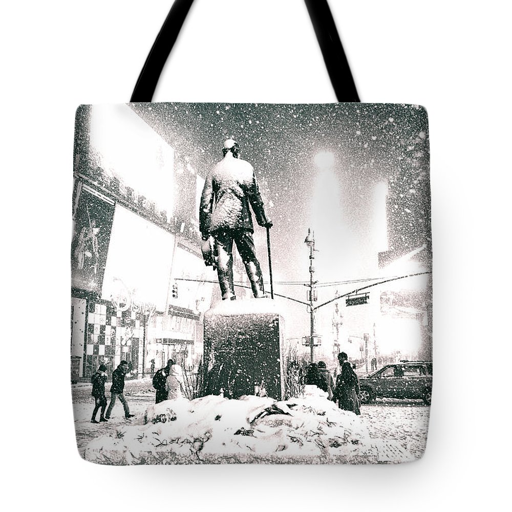Nyc Tote Bag featuring the photograph Times Square In The Snow - New York City by Vivienne Gucwa