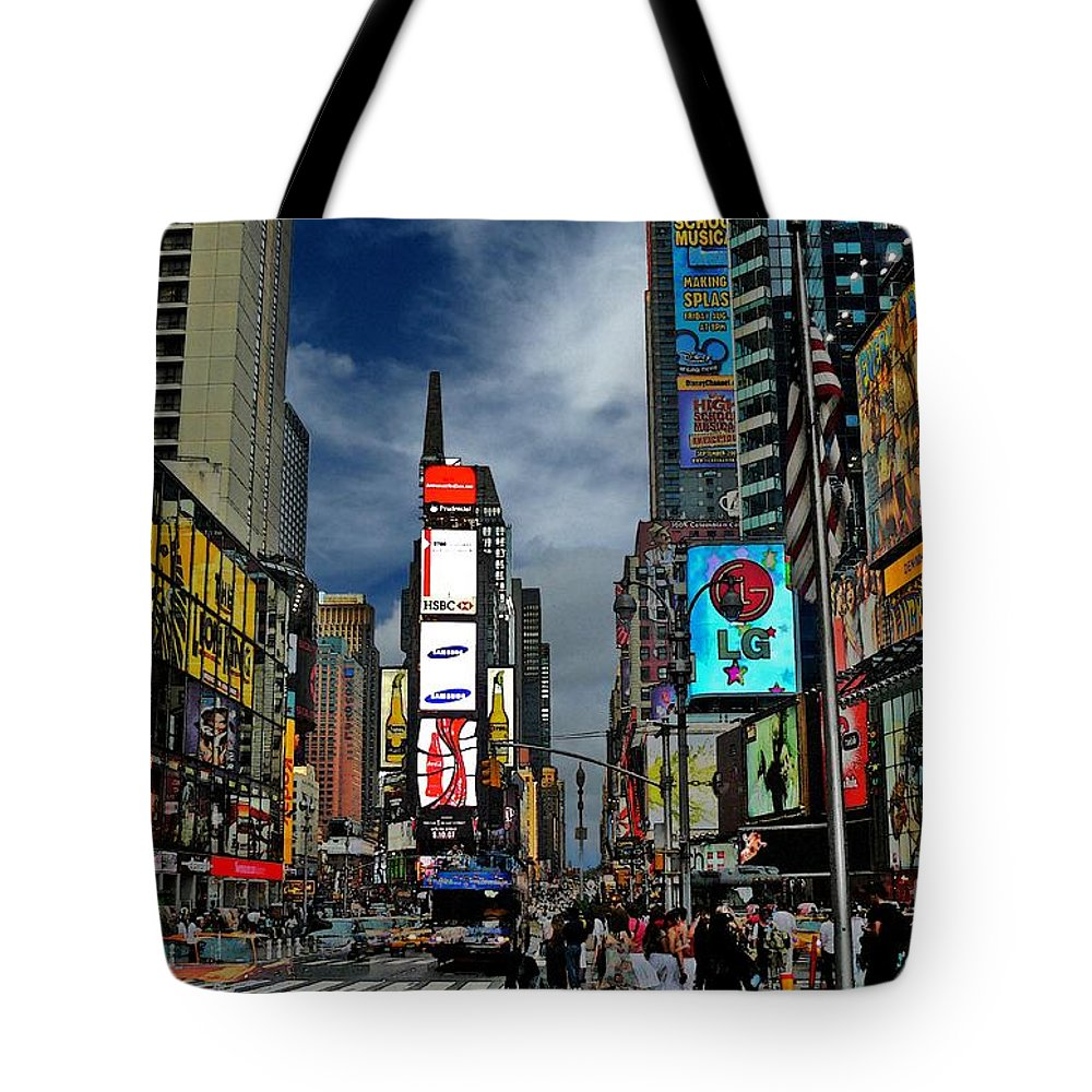 New York City Tote Bag featuring the photograph Times Square by Jeff Breiman