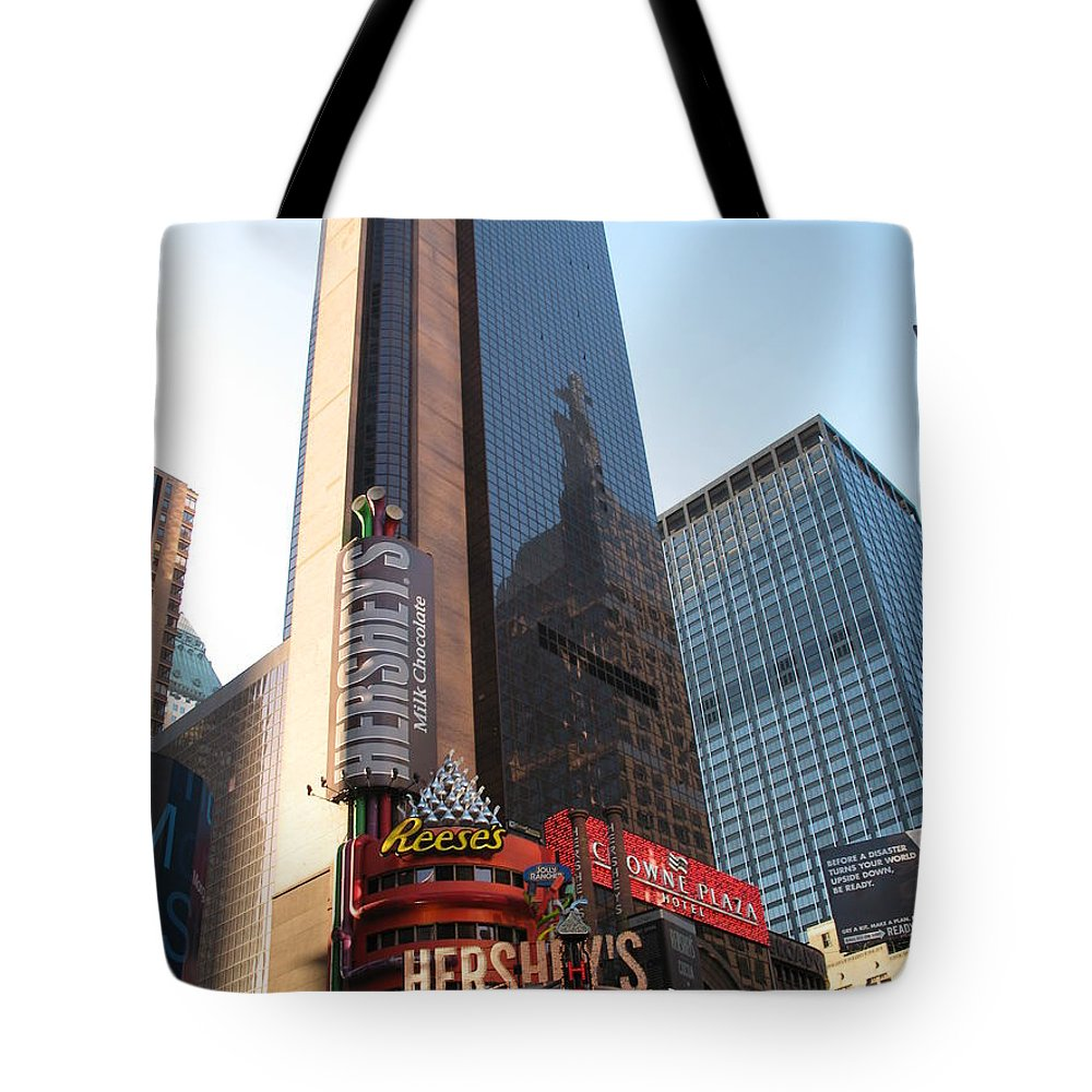 Times Square Tote Bag featuring the photograph Times Square - New York City by Christiane Schulze Art And Photography