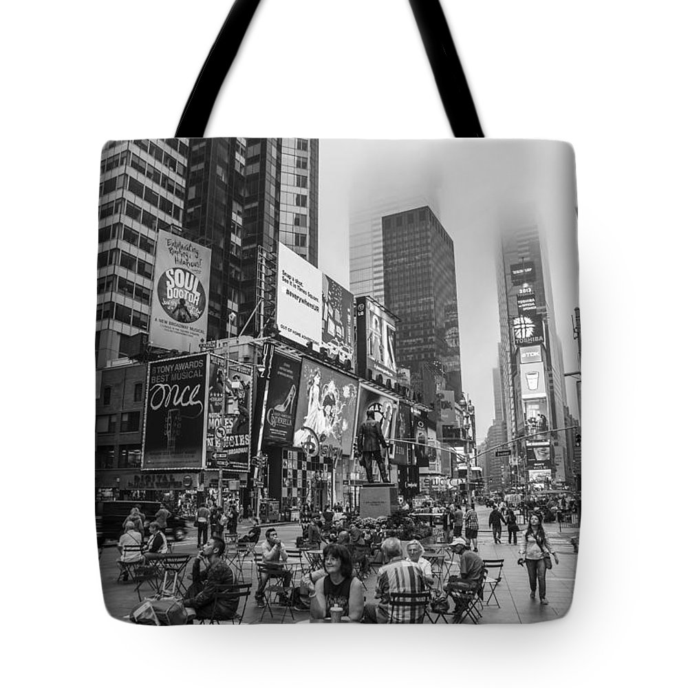 Nyc Tote Bag featuring the photograph Times Square With Fog by John McGraw