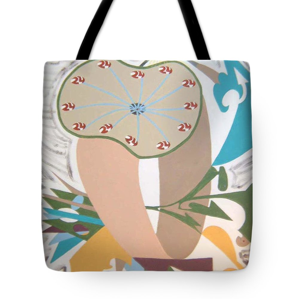 Abstract Tote Bag featuring the painting Times Up by Dean Stephens