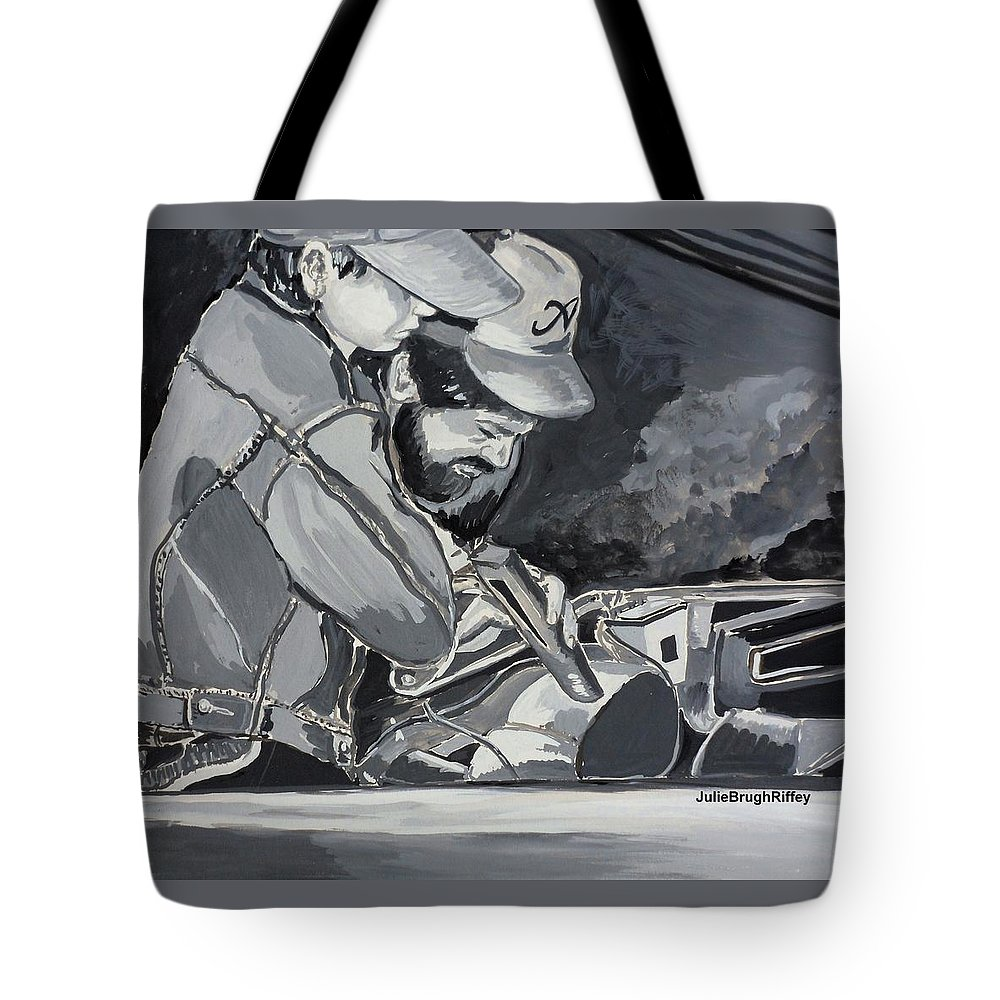 Mechanics Tote Bag featuring the painting Timing Is Everything - Father Son Art by Julie Brugh Riffey