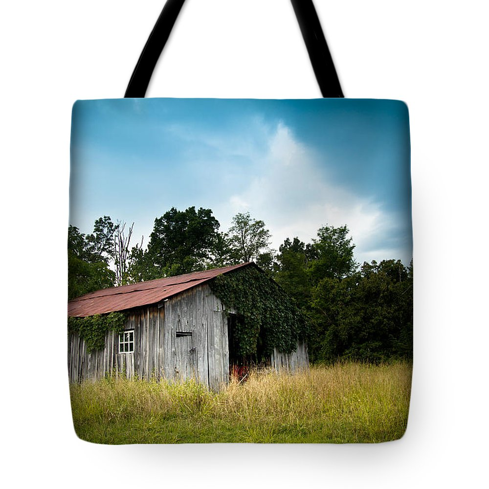 Barn Tote Bag featuring the photograph Tin Roof...ivy Covered Barn by Shane Holsclaw