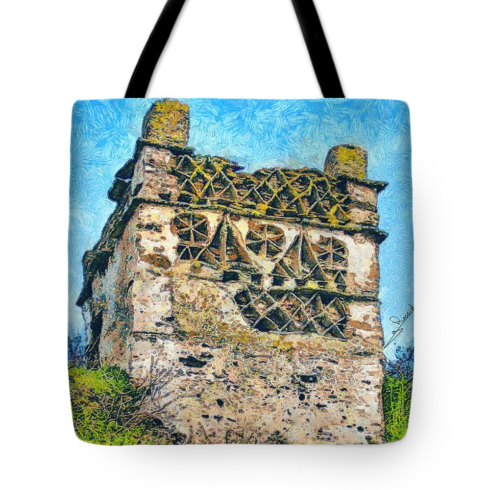 Rossidis Tote Bag featuring the painting Tinos Dovecotes 1 by George Rossidis