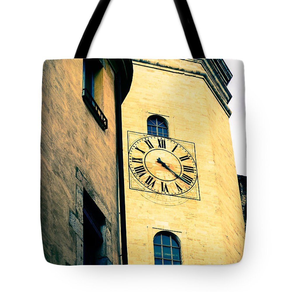 Church Clock Tote Bag featuring the photograph Tinted Times by Mair Hunt
