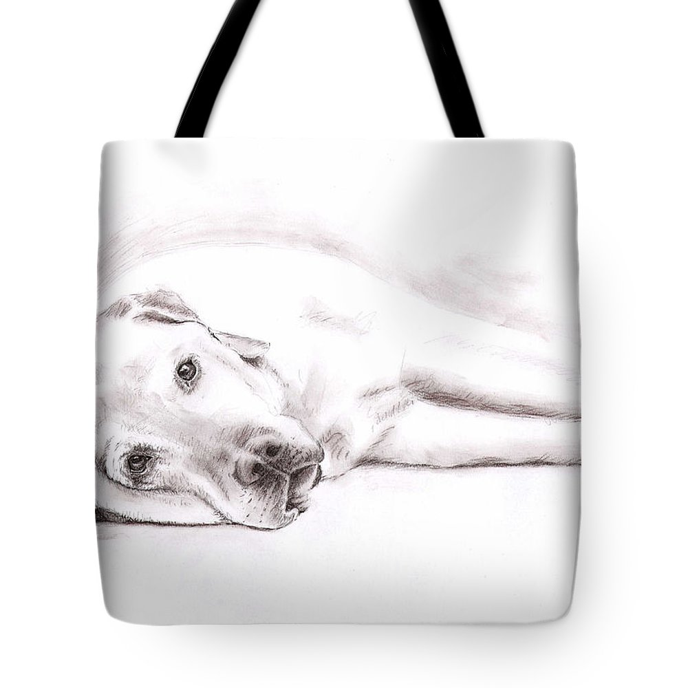Dog Tote Bag featuring the drawing Tired Labrador by Nicole Zeug