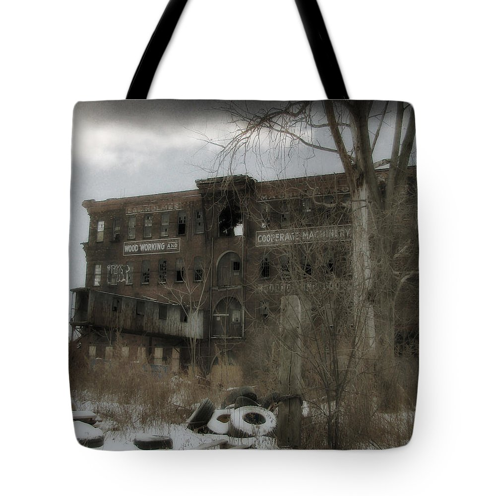 Snow Tote Bag featuring the photograph Where All The Tires Go by Gothicrow Images