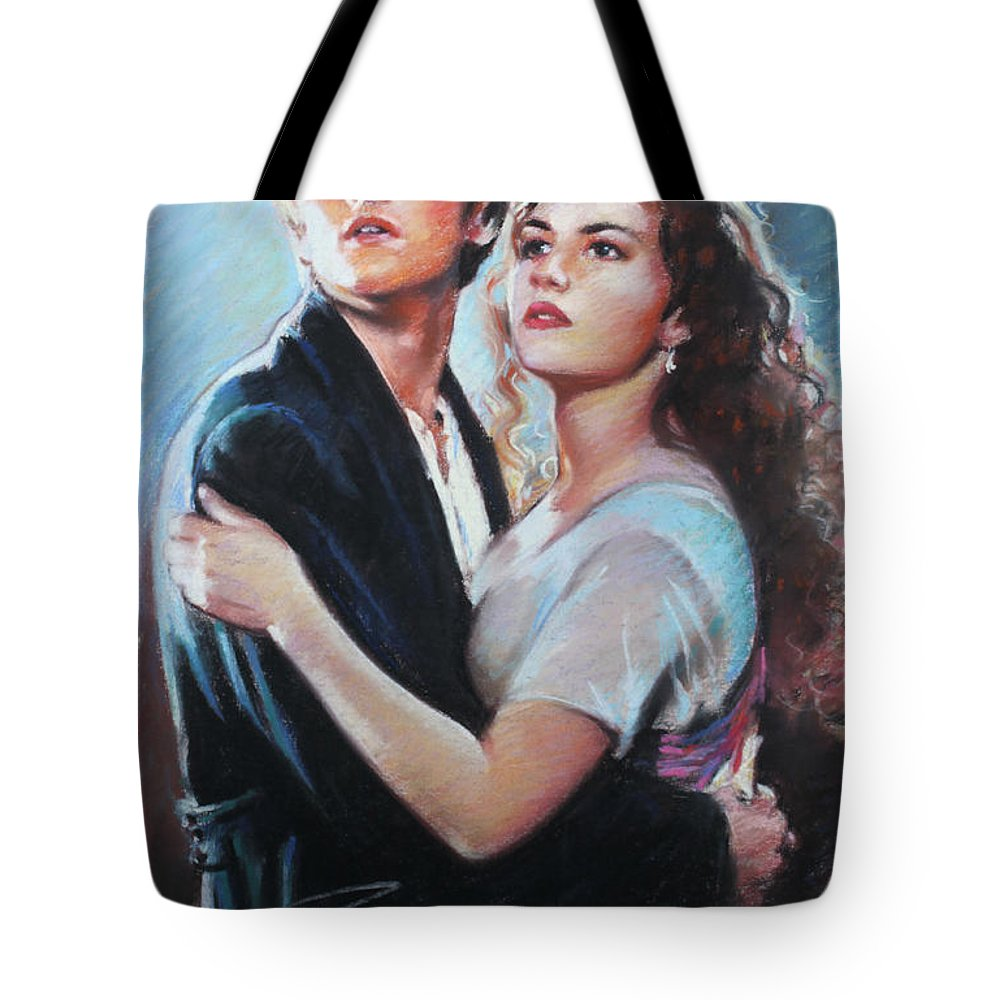 Titanic Tote Bag featuring the drawing Titanic Jack And Rose by Viola El