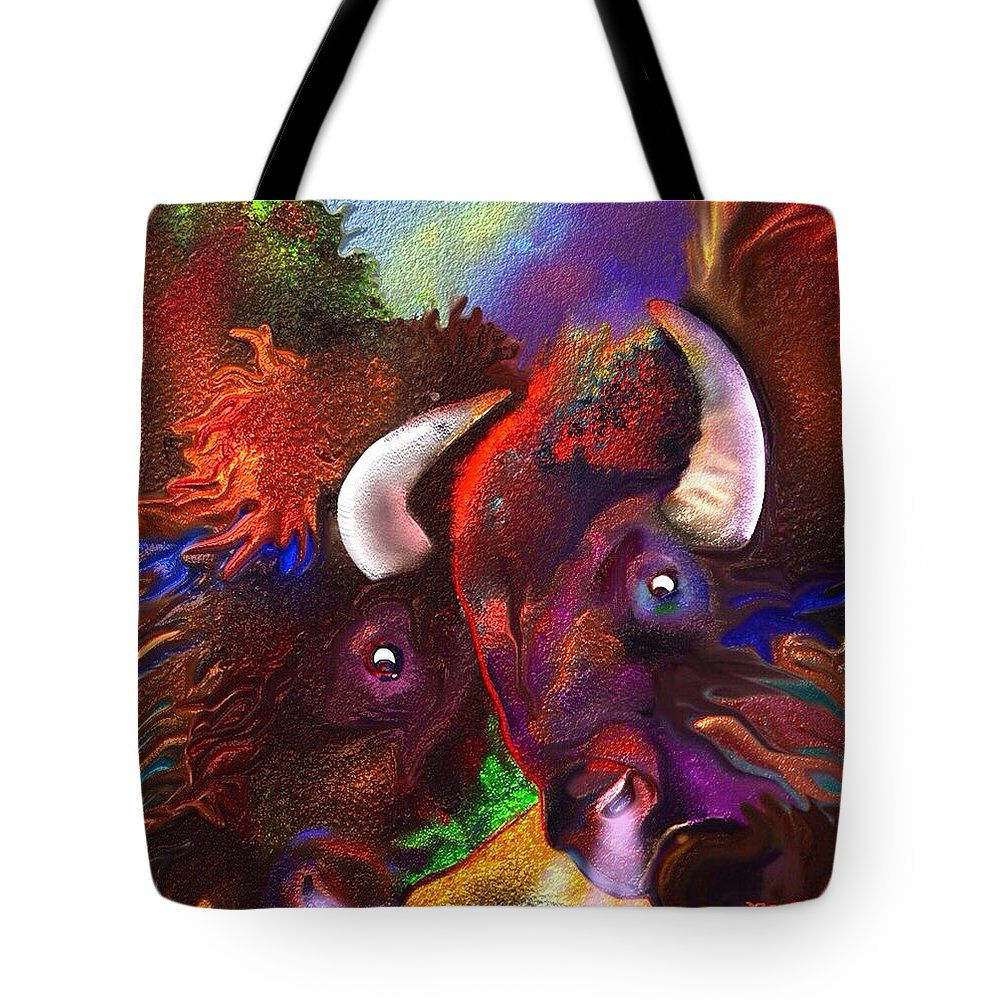 Bison Tote Bag featuring the painting Titans by Marie Clark
