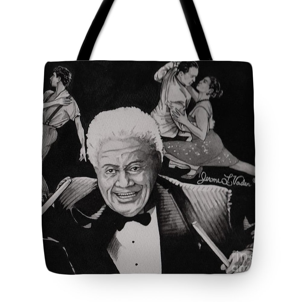 Latin Jazz Tote Bag featuring the painting Tito Puente by JL Vaden