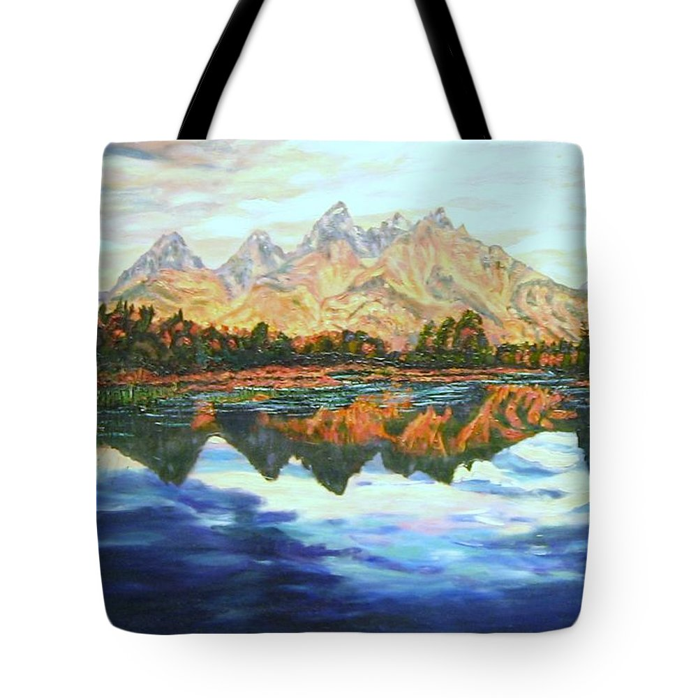 Titons Tote Bag featuring the painting Titon Reflections by Richard Nowak