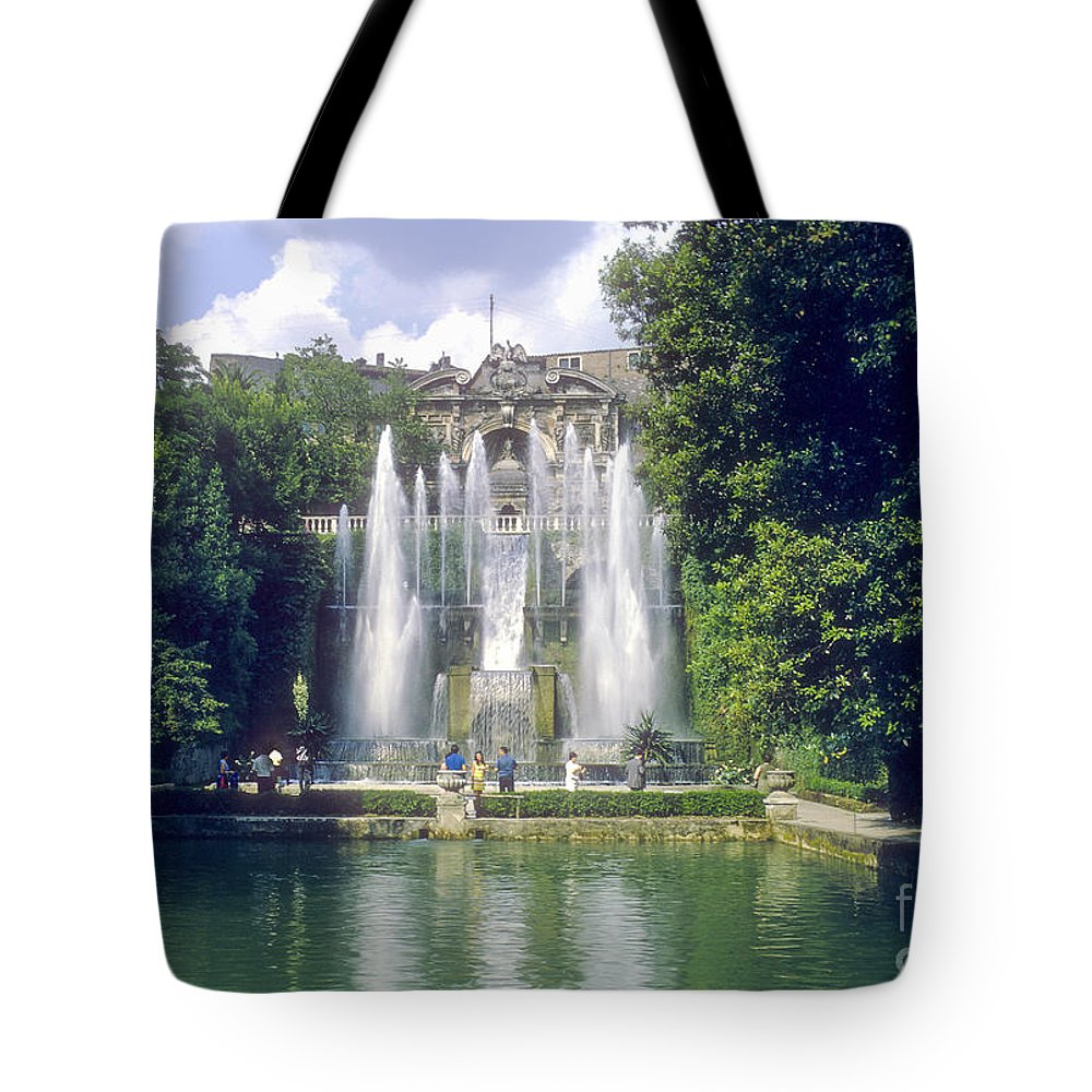 Tivoli Gardens Rome Fountain Fountains Water Structure Structures Landscape Landscapes Tree Trees Italy Cityscape Cityscapes Cities City Waterscape Waterscapes Tote Bag featuring the photograph Tivoli Garden Fountain Reflection by Bob Phillips