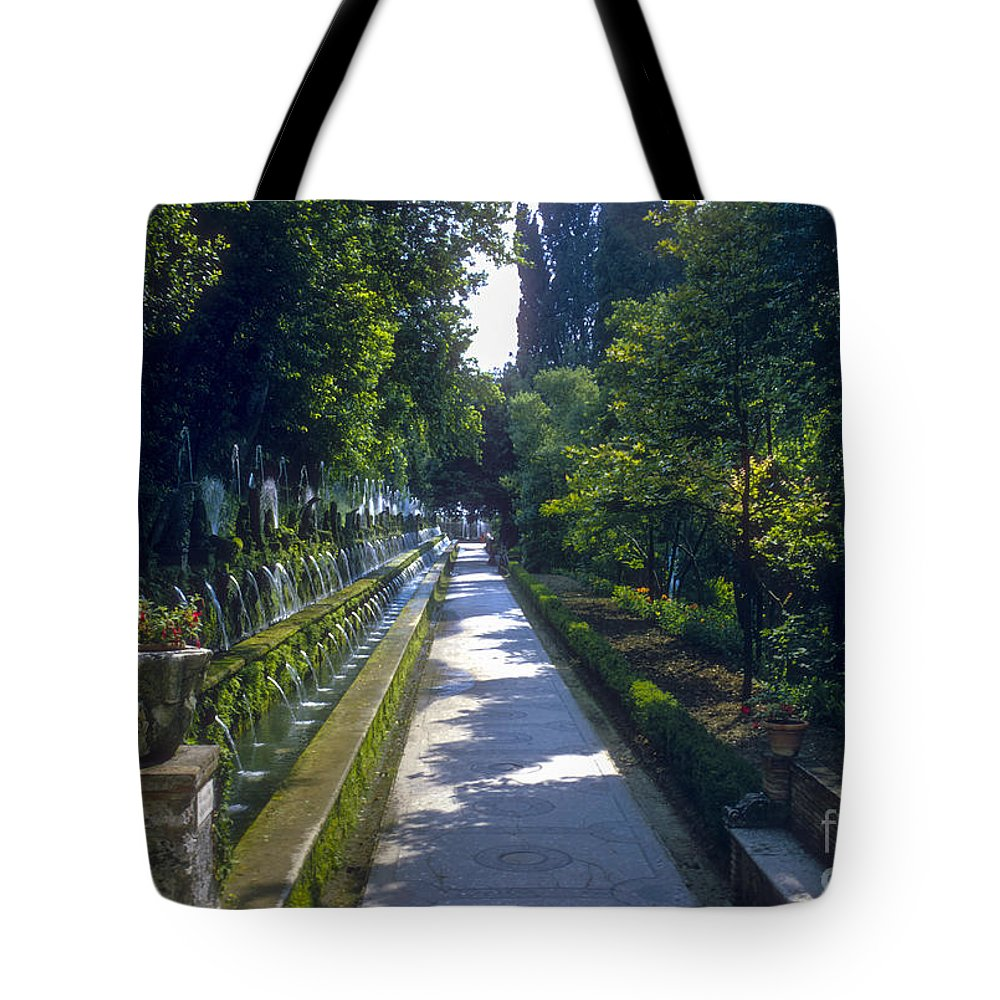 Tivoli Gardens Rome Fountain Fountains Water Structure Structures Landscape Landscapes Tree Trees Path Paths Italy Tote Bag featuring the photograph Tivoli Gardens by Bob Phillips