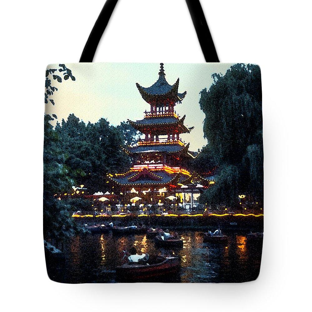 Tivoli Gardens Tote Bag featuring the photograph Tivoli Pagoda 4 by Bob Phillips