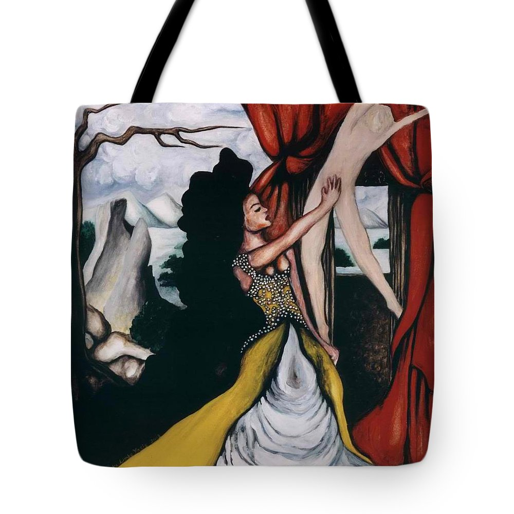 To Have And To Hold Tote Bag featuring the painting To Have And To Hold  Mourning The Loss Of A Lover by Ayka Yasis