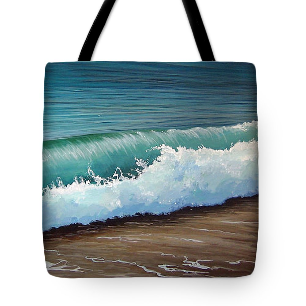 Wave On A Florida Beach Tote Bag featuring the painting To The Shore by Hunter Jay