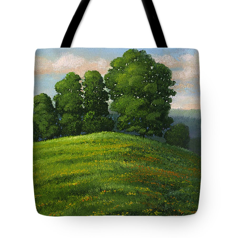 Landscape Tote Bag featuring the painting Toboggan Hill by Frank Wilson