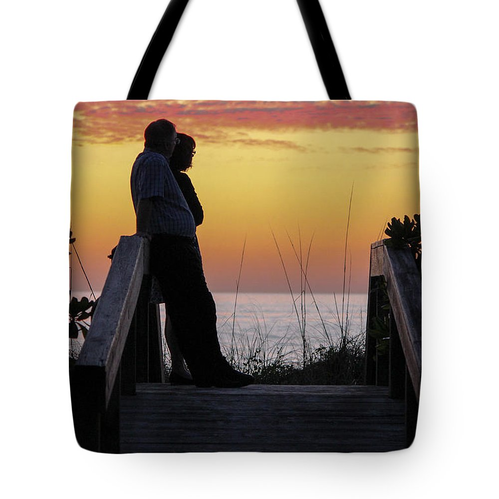 Sunset Tote Bag featuring the photograph Together At Sunset by Amy S Klein