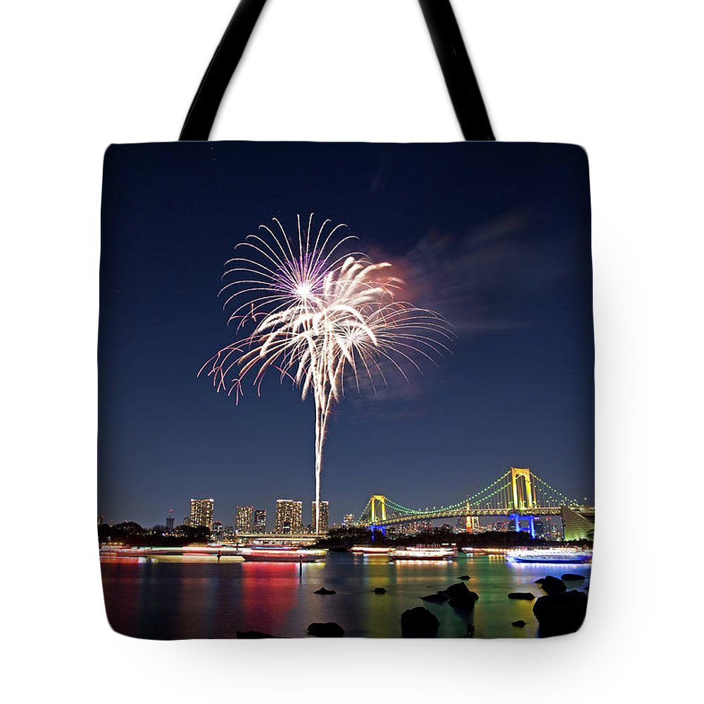 Firework Display Tote Bag featuring the photograph Tokyo Bay Fireworks by Photography By Zhangxun