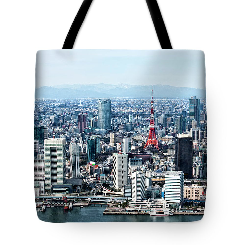 Tokyo Tower Tote Bag featuring the photograph Tokyo Bay,skyscrapers And Tokyo Tower by Michael H