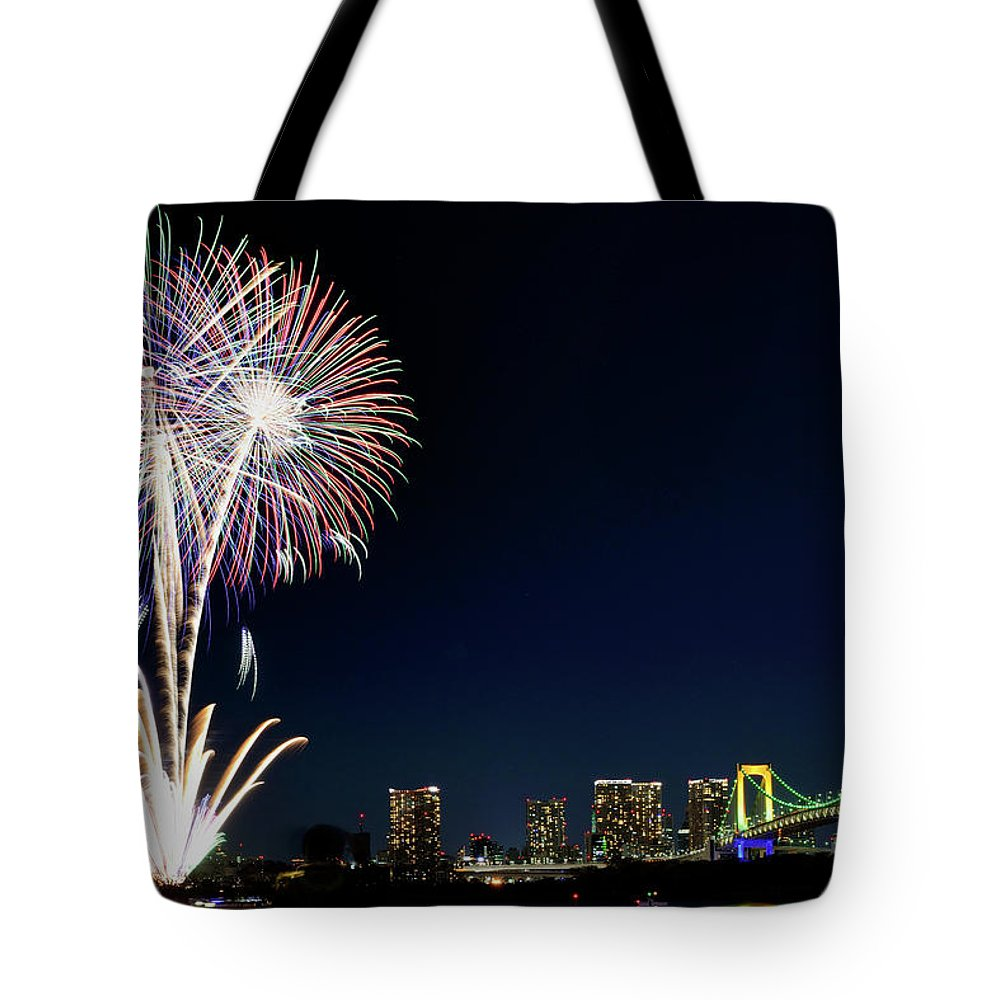 Firework Display Tote Bag featuring the photograph Tokyo Fireworks by Vladimir Zakharov