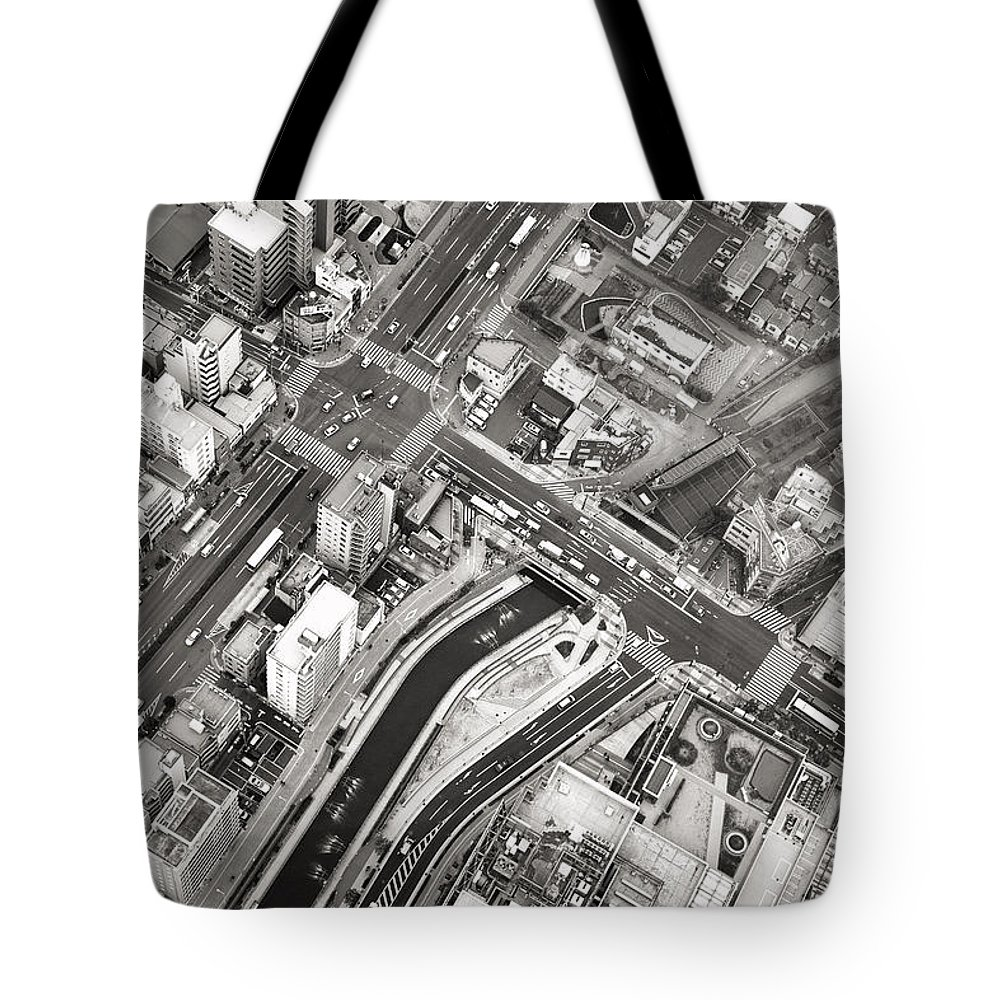 Skytree Tote Bag featuring the photograph Tokyo Intersection Black And White by For Ninety One Days