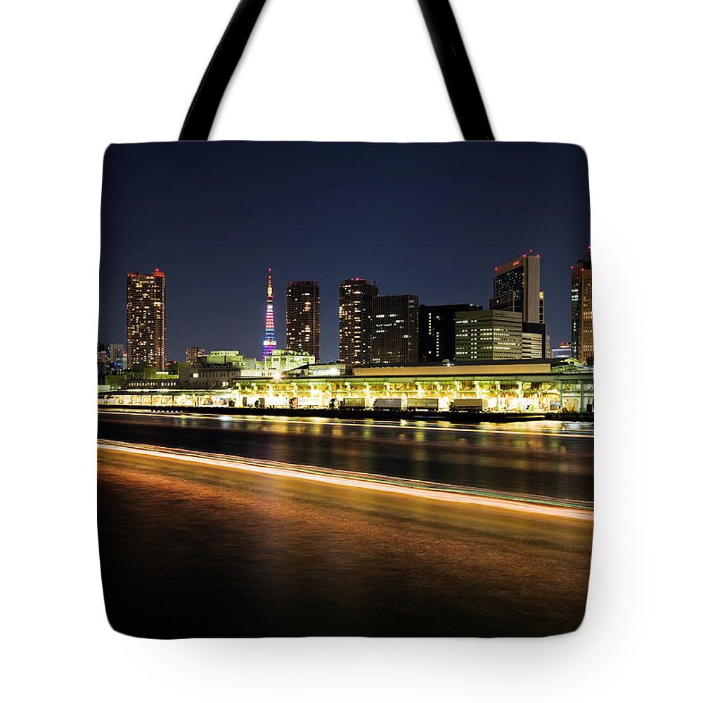 Tokyo Tower Tote Bag featuring the photograph Tokyo Nightview Of Buildings And Tokyo by Photography By Zhangxun