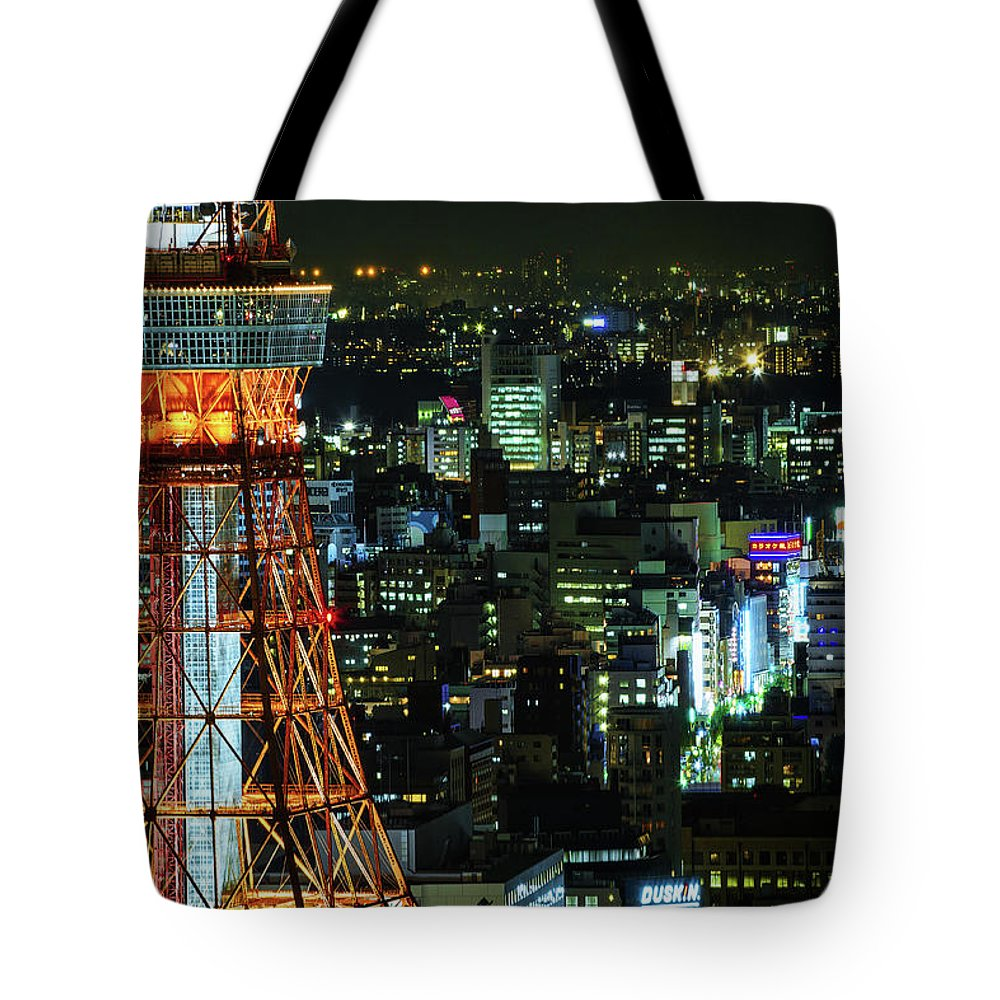 Tokyo Tower Tote Bag featuring the photograph Tokyo Skyline With Tokyo Tower At Night by Sandro Bisaro
