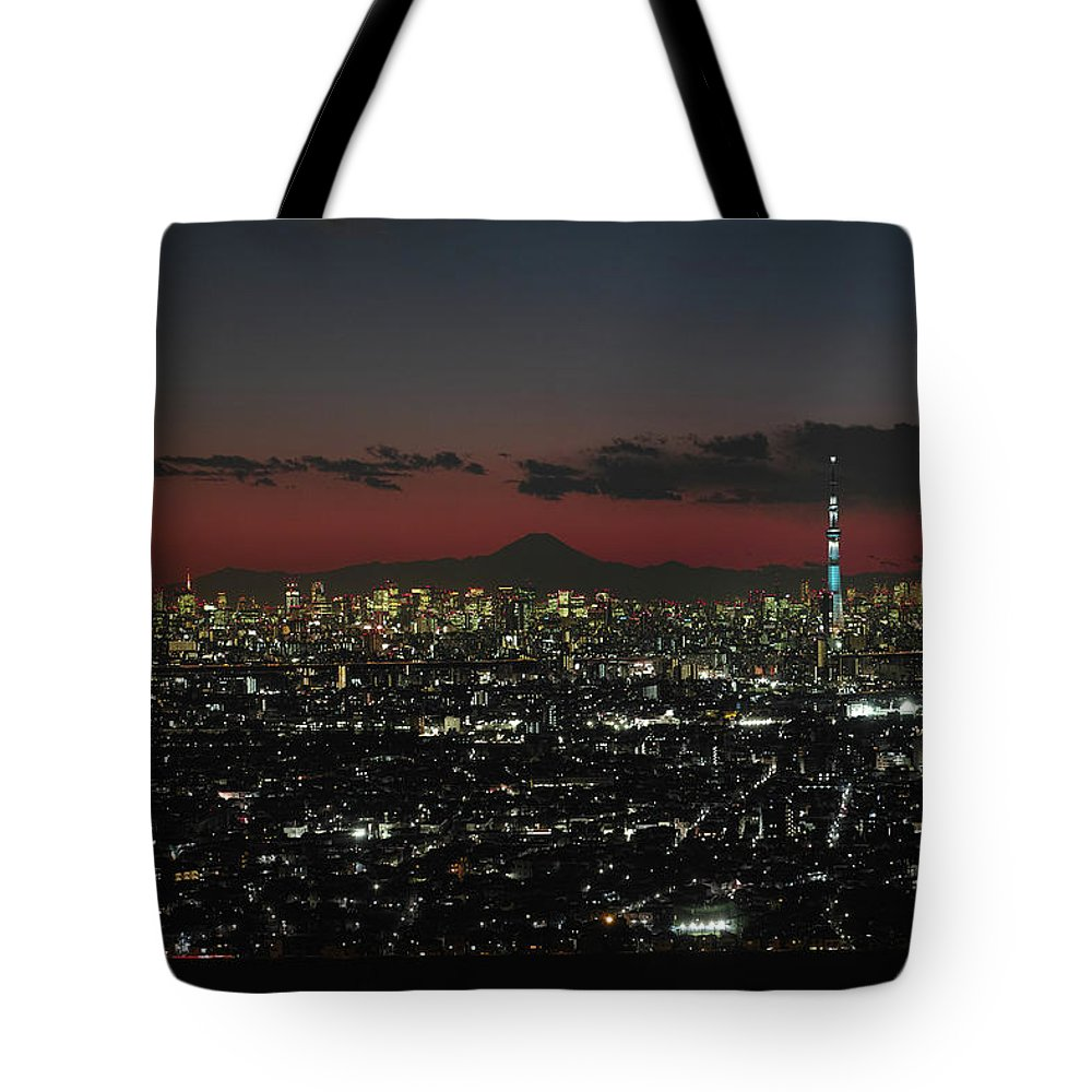 Tokyo Tower Tote Bag featuring the photograph Tokyo Skytree, Fuji, And Tokyo Tower by I Love Photo And Apple.
