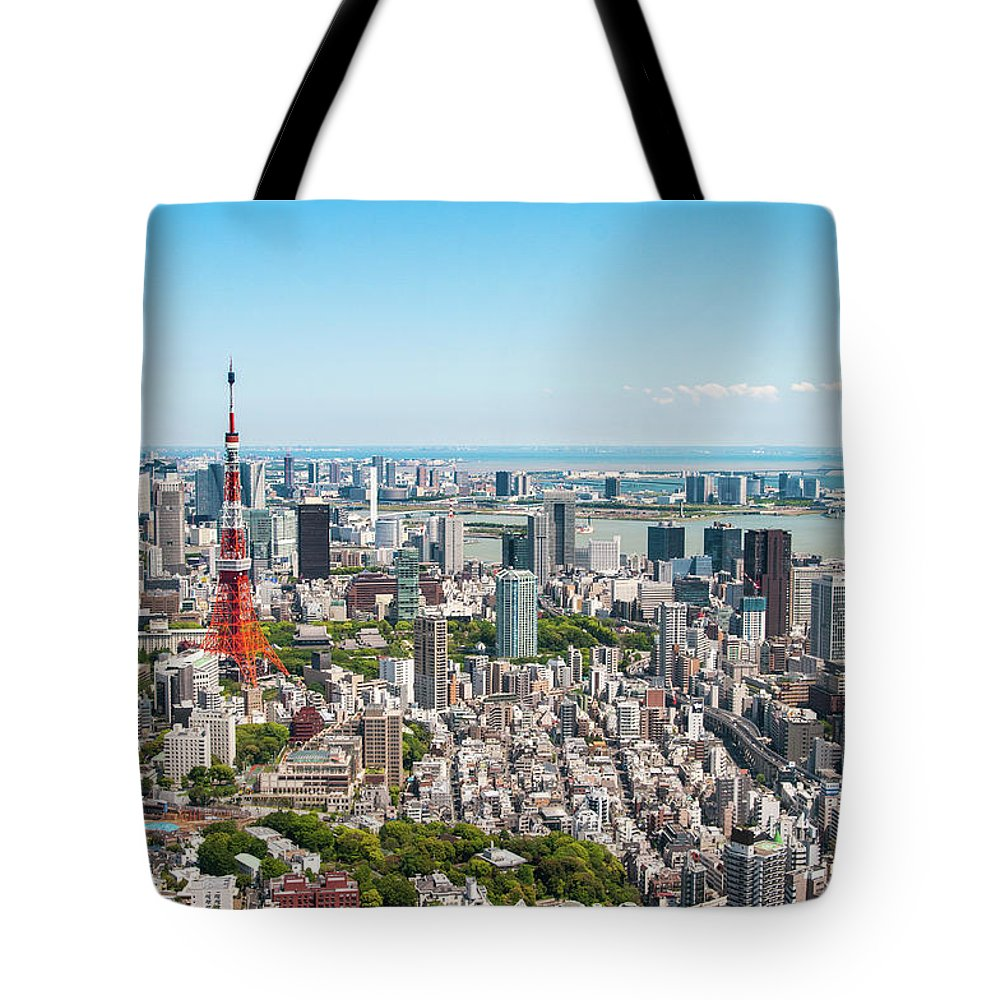 Tokyo Tower Tote Bag featuring the photograph Tokyo Tower From Roppongi Hills by Daniel Shi