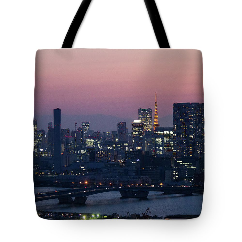 Tokyo Tower Tote Bag featuring the photograph Tokyo Tower In Twilight by ©alan Nee