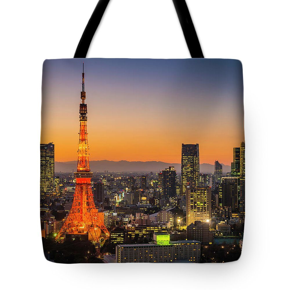 Tokyo Tower Tote Bag featuring the photograph Tokyo Tower Skyscrapers Neon Futuristic by Fotovoyager