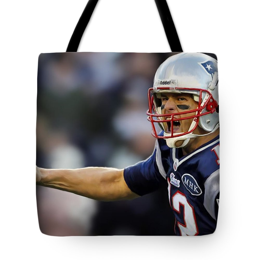Tom Tote Bag featuring the painting Tom Brady - Portrait by Paul Tagliamonte