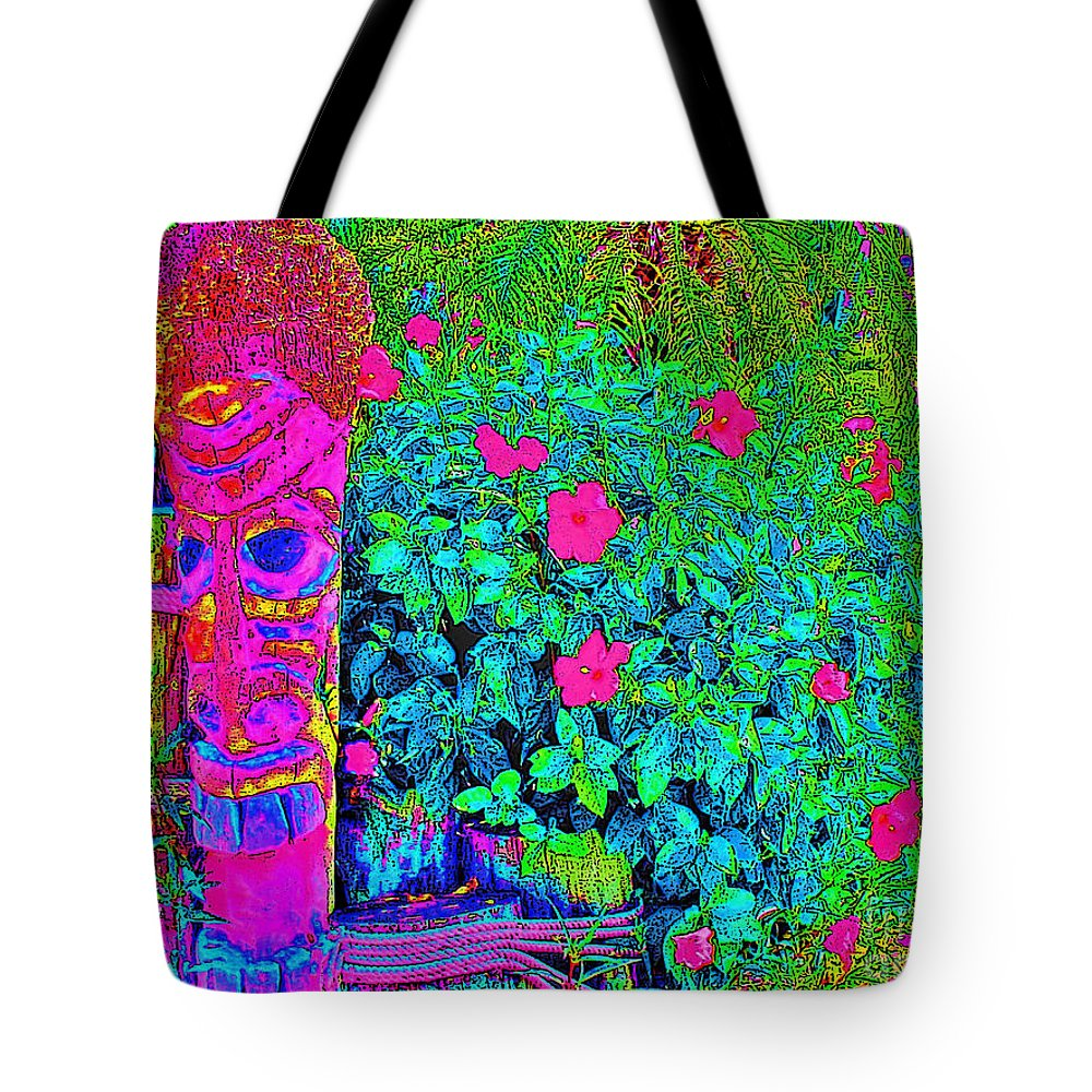 Keri West Tote Bag featuring the photograph Tom Tiki by Keri West