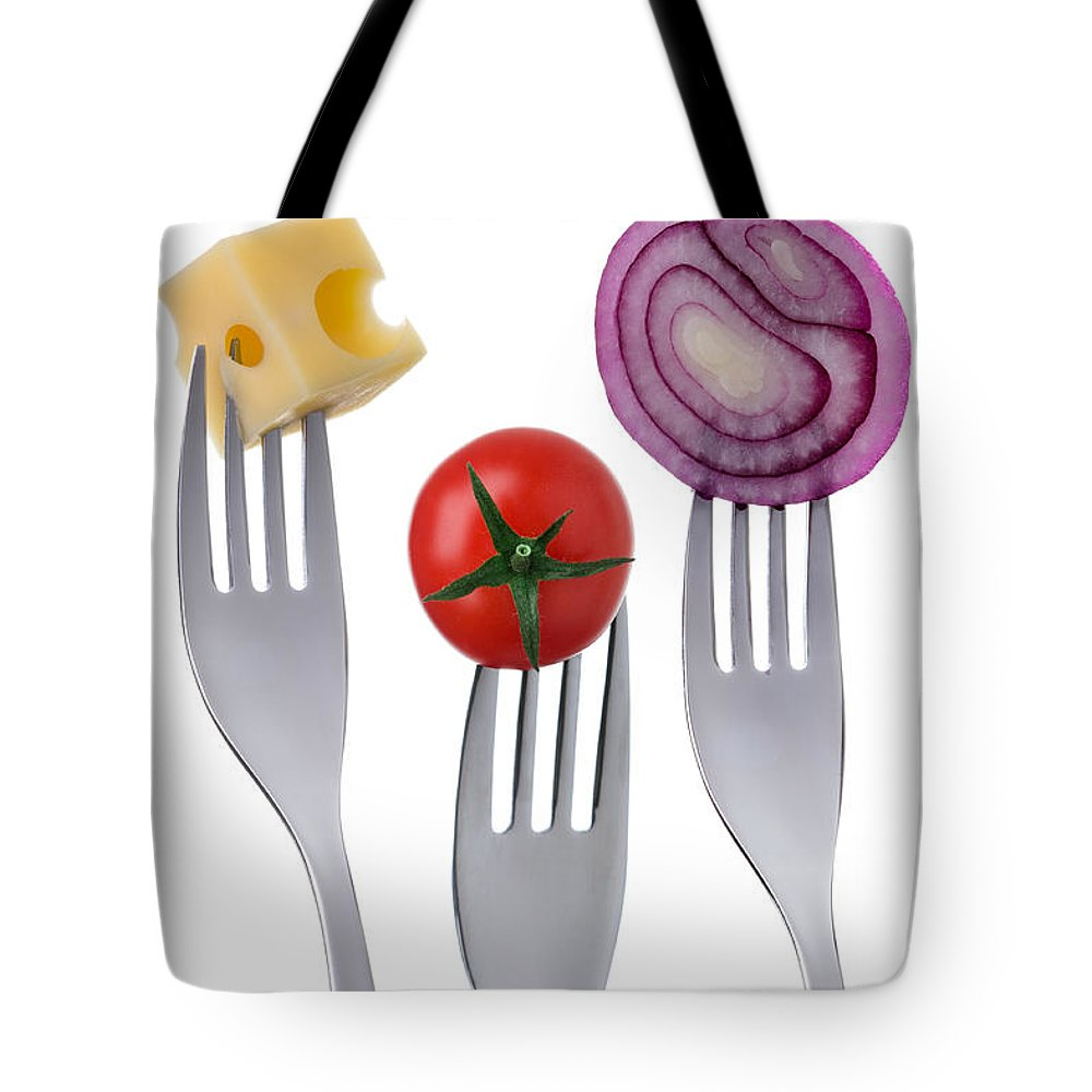 Tomato Tote Bag featuring the photograph Tomato Cheese And Onion On Forks Against White Background by Lee Avison