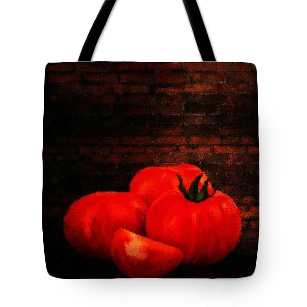 Onion Tote Bag featuring the digital art Tomatoes by Lourry Legarde