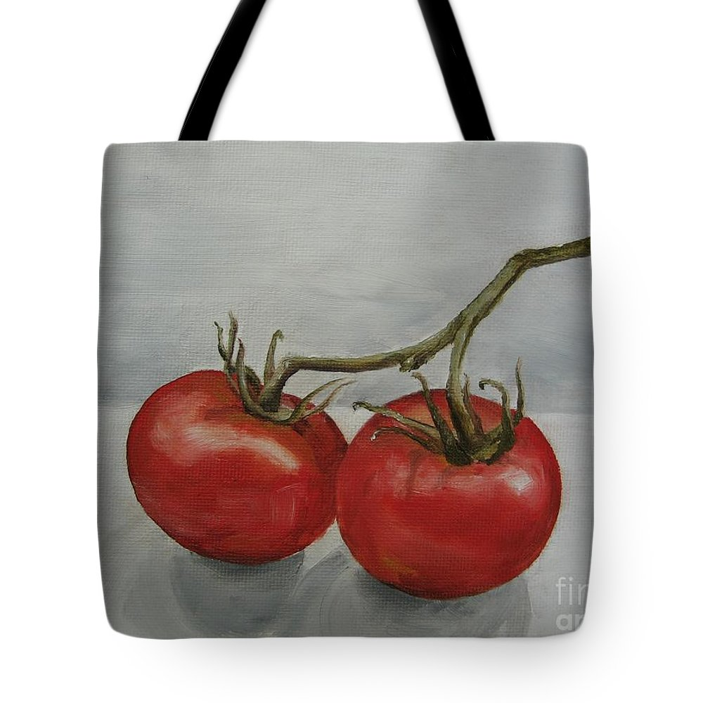 Oil Tote Bag featuring the painting Tomatoes On Vine by Jindra Noewi