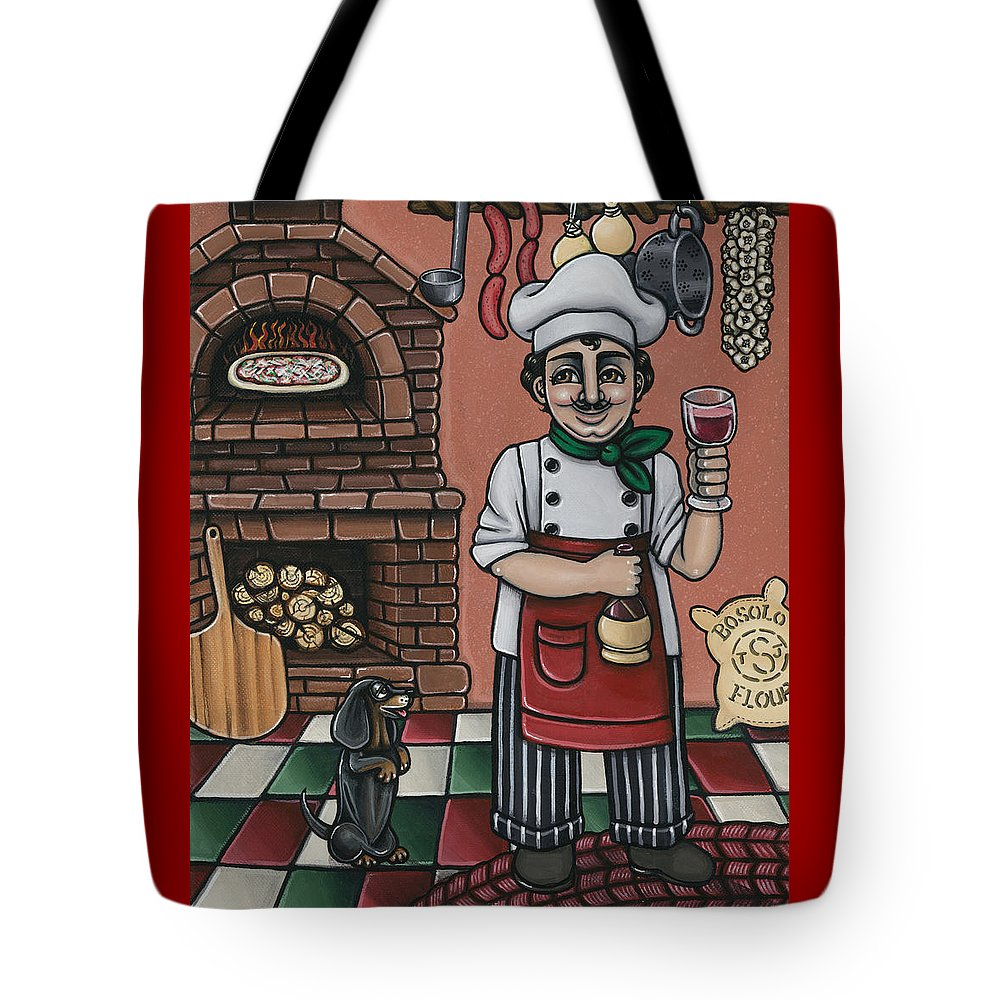 Italy Tote Bag featuring the painting Tommys Italian Kitchen by Victoria De Almeida