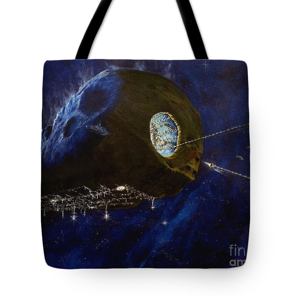 Oil Tote Bag featuring the painting Tomorrow by Murphy Elliott