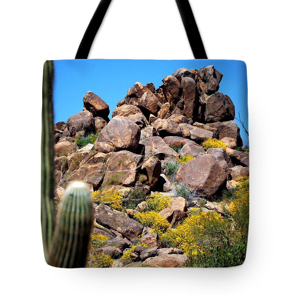 Forest Tote Bag featuring the photograph Tonto Saguaro Rocks 10189 by Jerry Sodorff
