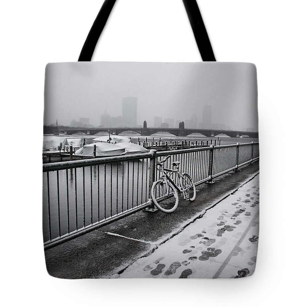 Snow Tote Bag featuring the photograph Too Cold To Cycle by Douglas Barnard