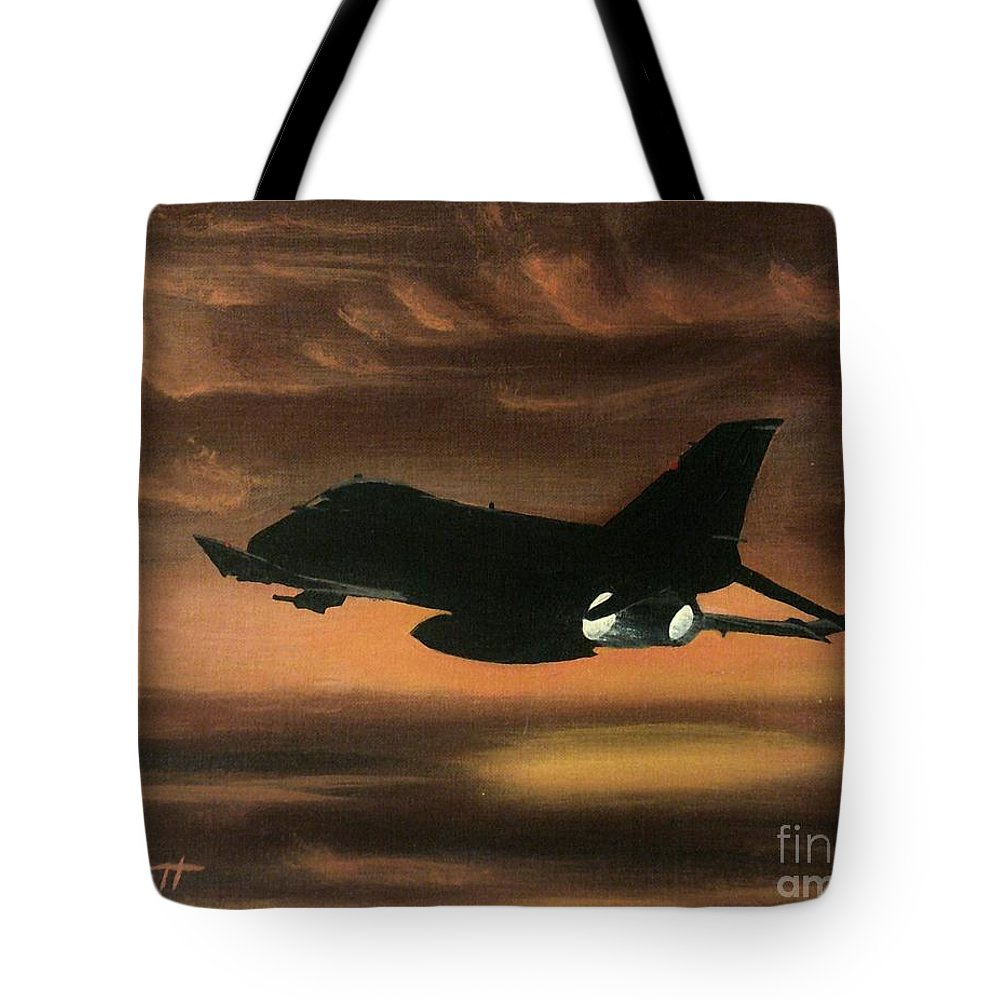 Airplanes Tote Bag featuring the painting Top Gun by K Alan Jarrett