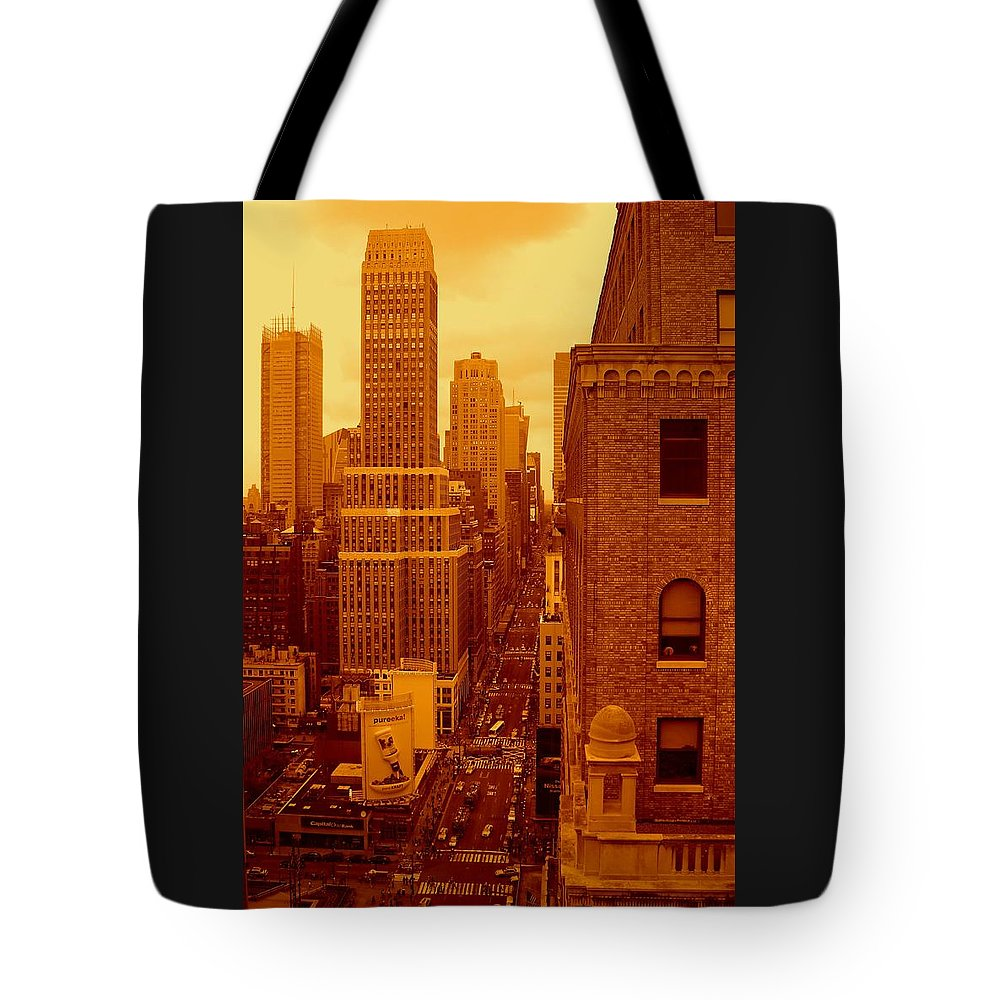 Manhattan Posters And Prints Tote Bag featuring the photograph Top Of Manhattan by Monique's Fine Art