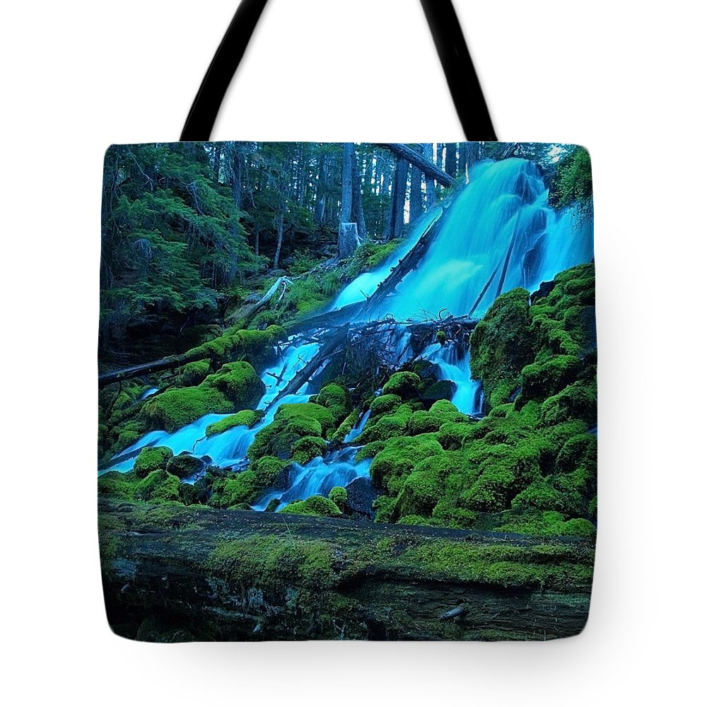 Waterfall Tote Bag featuring the photograph Top Part Of Clearwater Falls by Teri Schuster