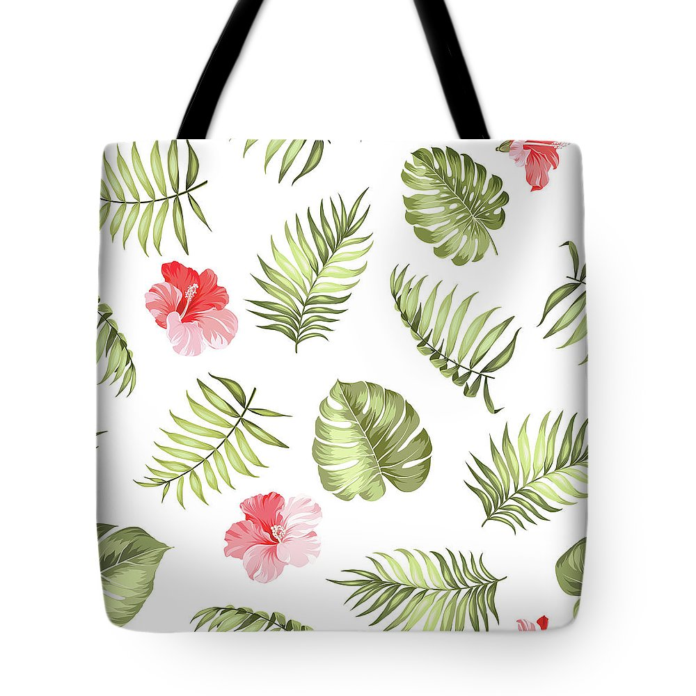Tropical Rainforest Tote Bag featuring the digital art Topical Palm Leaves Pattern by Kotkoa